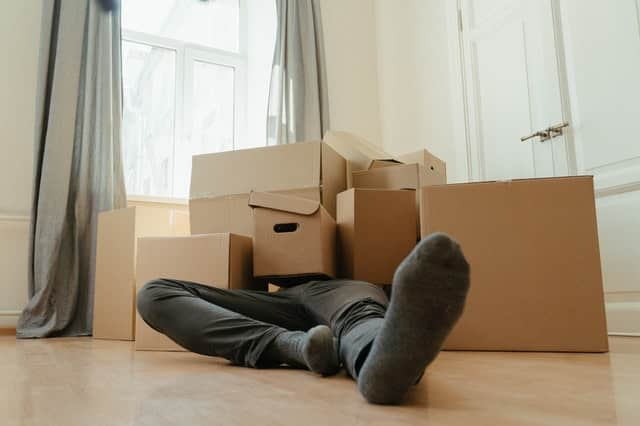 Man covered in moving boxes